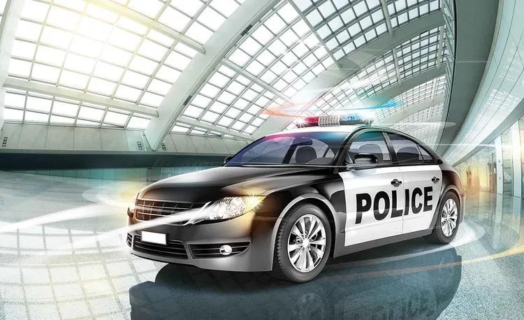 Police Car Fototapet, (368 x 254 cm)