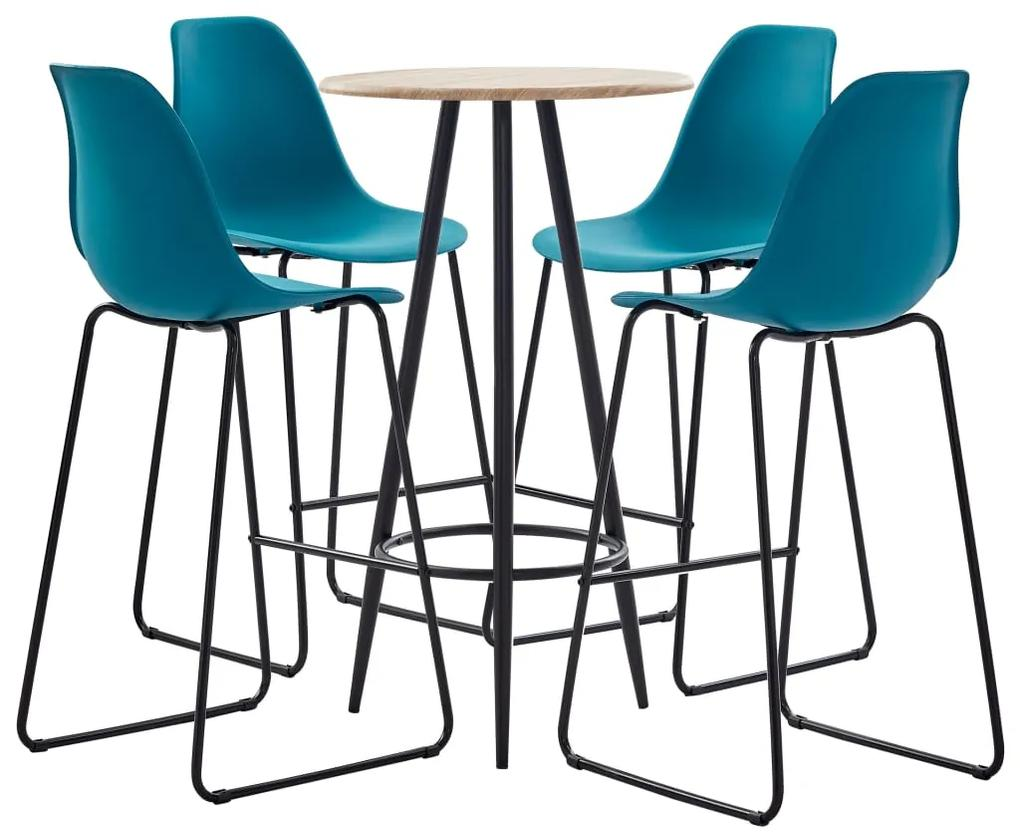 279811 vidaXL Set mobilier de bar, 5 piese, turcoaz, plastic
