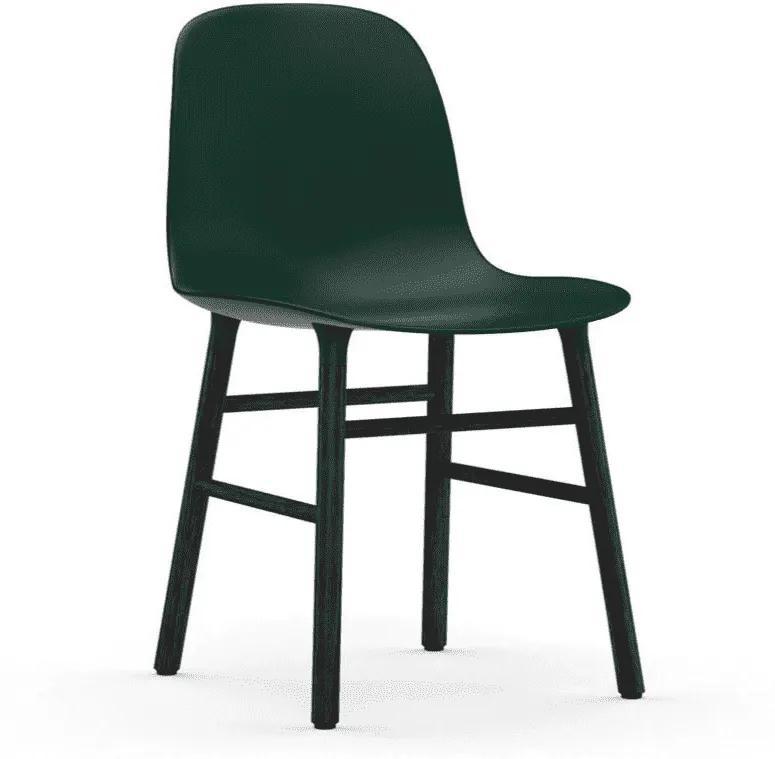 Scaun Form Verde cu Picioare din Lemn Negru NORMANN COPENHAGEN - Plastic Verde Inaltime (80cm) x Latime (48cm) x Dia (52cm)