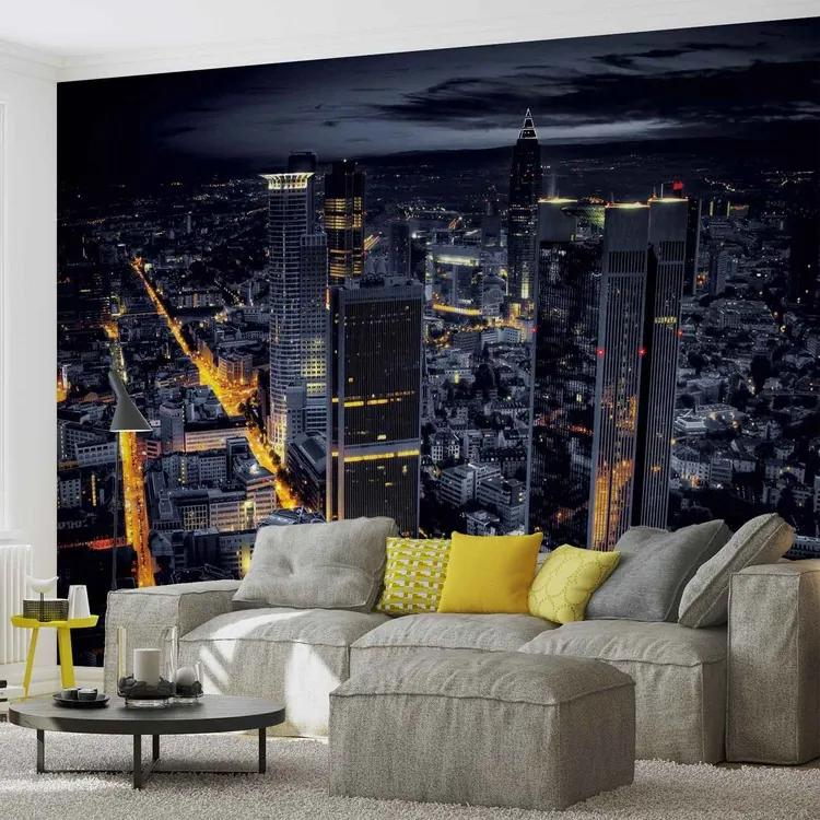 City Frankfurt Skyline Night Lights Fototapet, (416 x 254 cm)