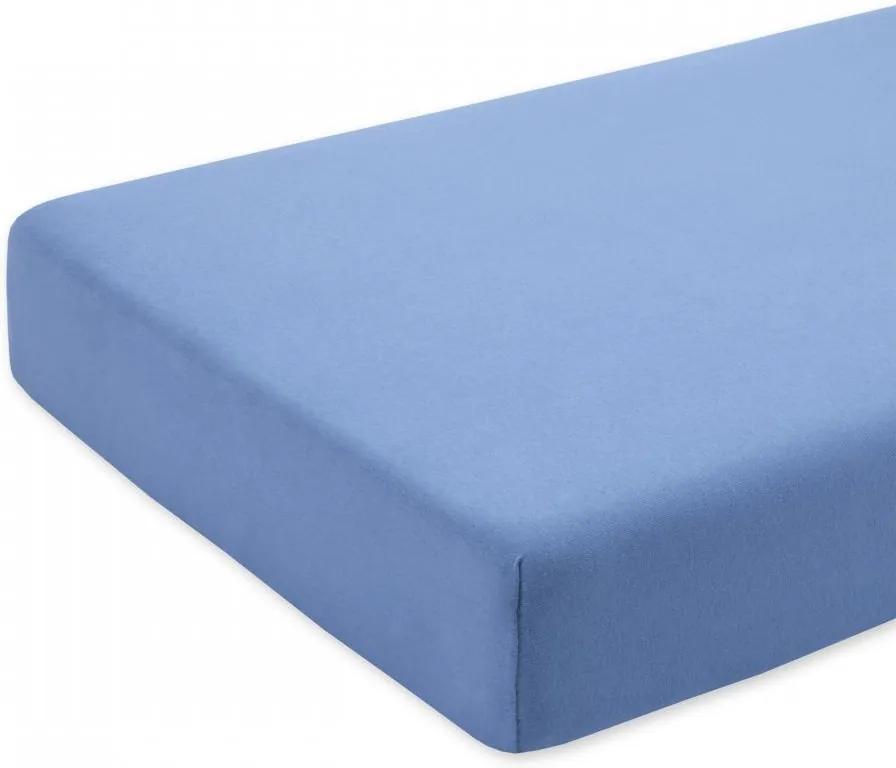 Cearceaf albastru cu elastic pentru saltea 80 x 160 cm