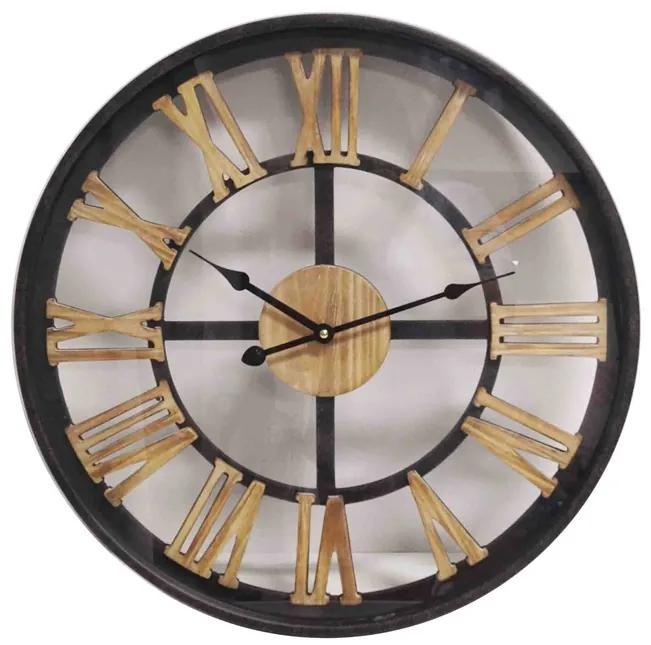 Ceas de perete metal cu cifre lemn 60 cm