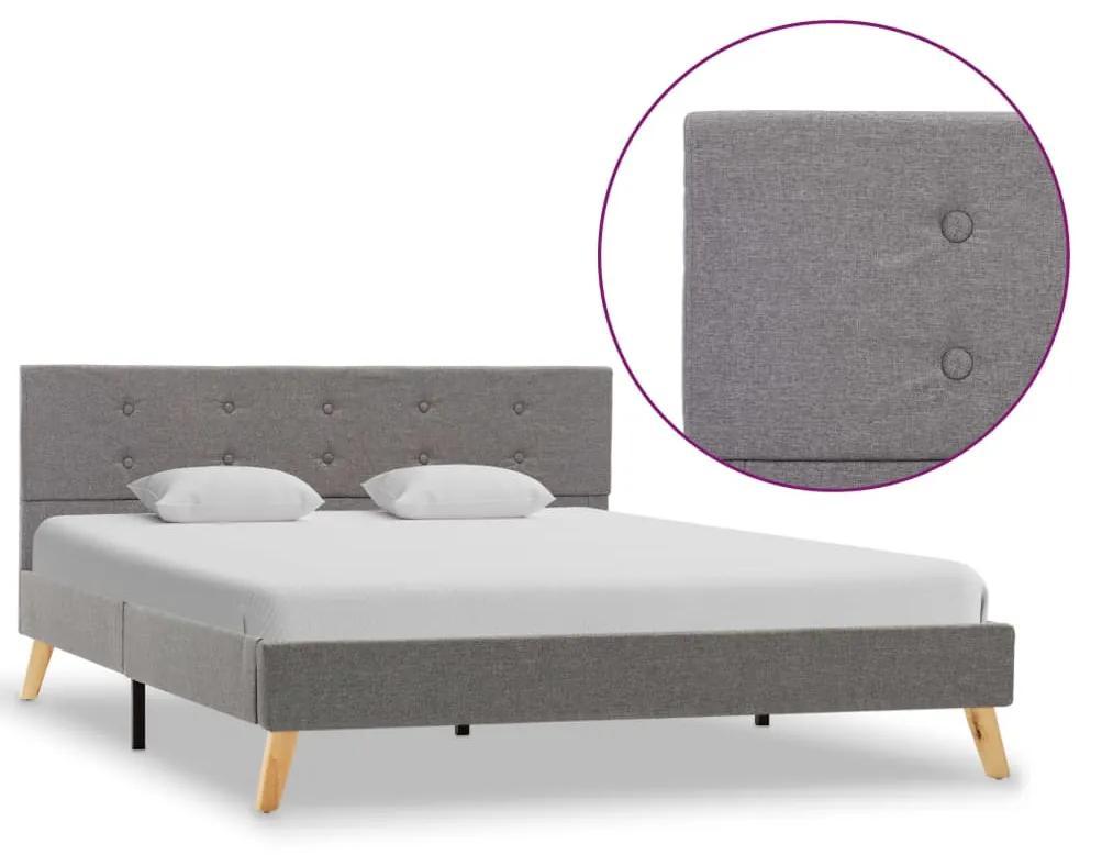 284819 vidaXL Cadru de pat, gri deschis, 140 x 200 cm, material textil