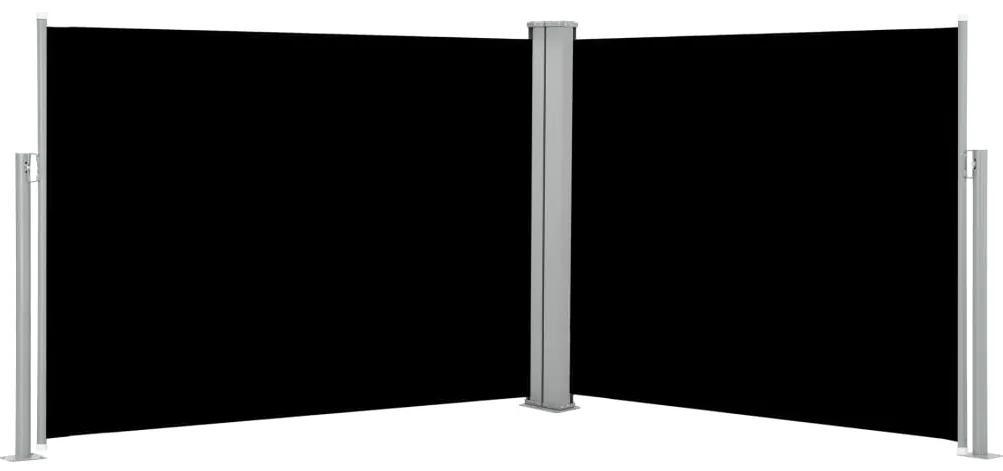 48490 vidaXL Copertină laterală retractabilă, negru, 170 x 1000 cm
