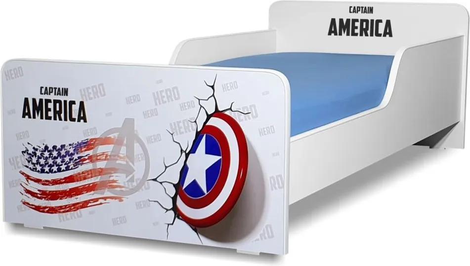 Pat copii  Captain America 2-12 ani cu saltea cadou