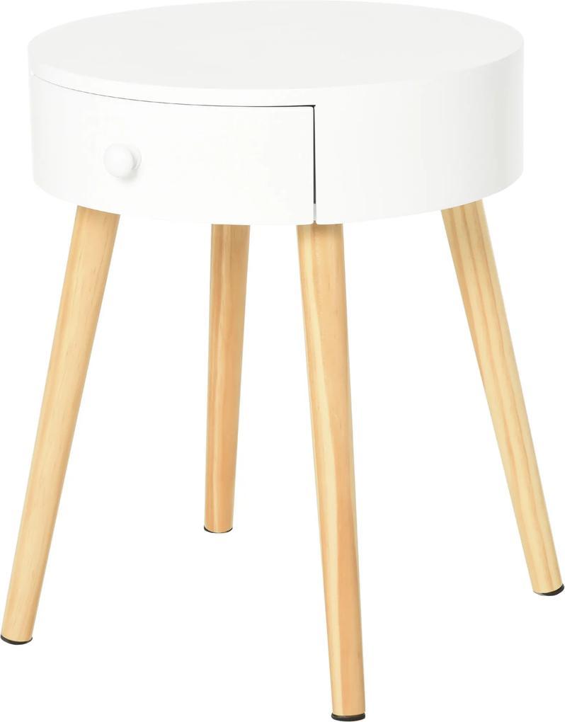 HOMCOM Noptiera Rotunda sertar organizer design inaltat din lemn alb