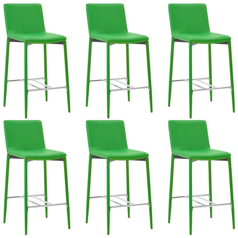 279688 vidaXL Scaune de bar, 6 buc., verde, piele ecologică