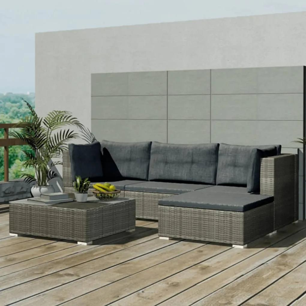 42735 vidaXL Set mobilier de grădină cu perne, 5 piese, gri, poliratan