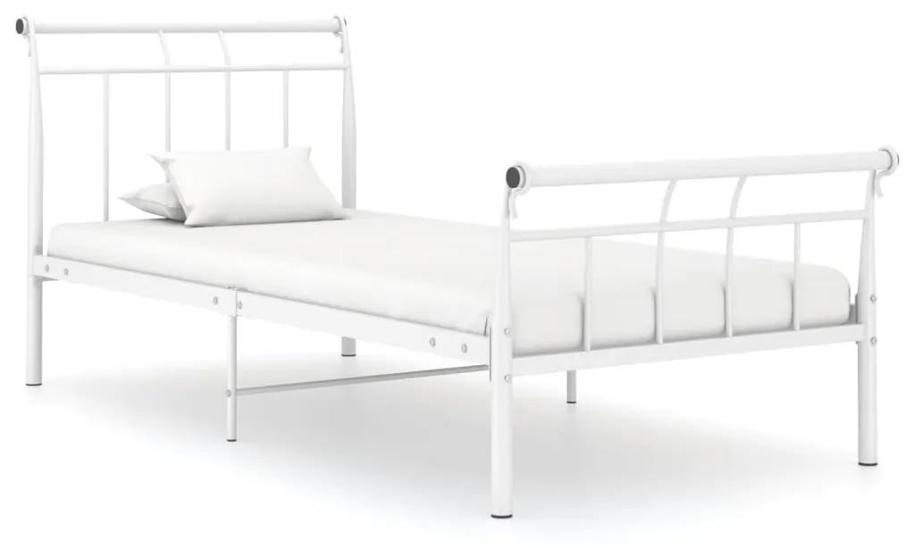 325031 vidaXL Cadru de pat, alb, 90x200 cm, metal