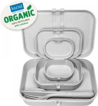 Set 3 cutii pentru pranz si tacamuri, 100% Reciclabil, Pascal Ready Organic Gri, L23,2xl16,6xH6,2 cm