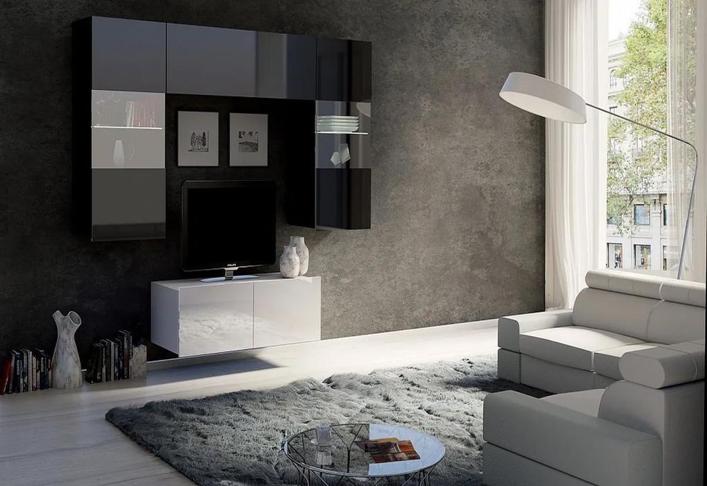 Expedo Set living BRINICA NR10, negru/negru luciu + alb/alb luciu + LED alb