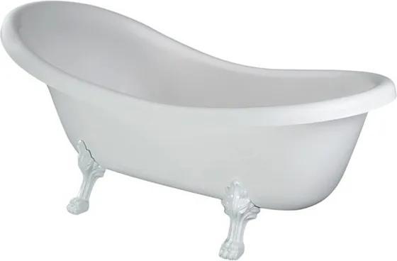Cada retro free-standing Besco Otylia 160x77 cm cu picioare albe si preaplin