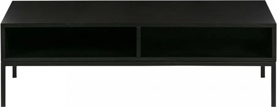 Masuta neagra din otel si lemn pentru cafea 65x120 cm Brix Black Woood