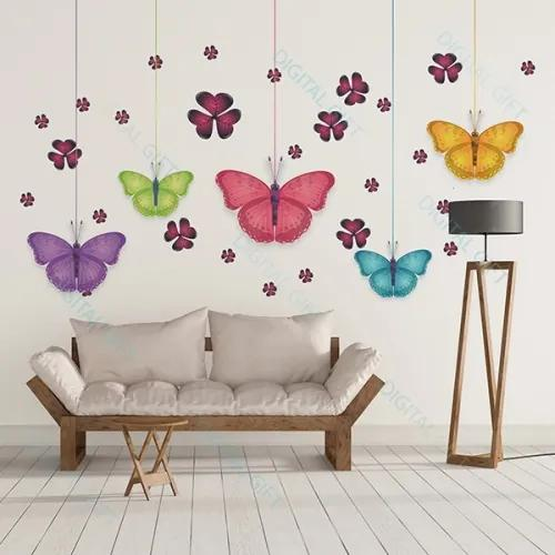 Sticker pentru perete - Fluturi si flori 200x130 cm