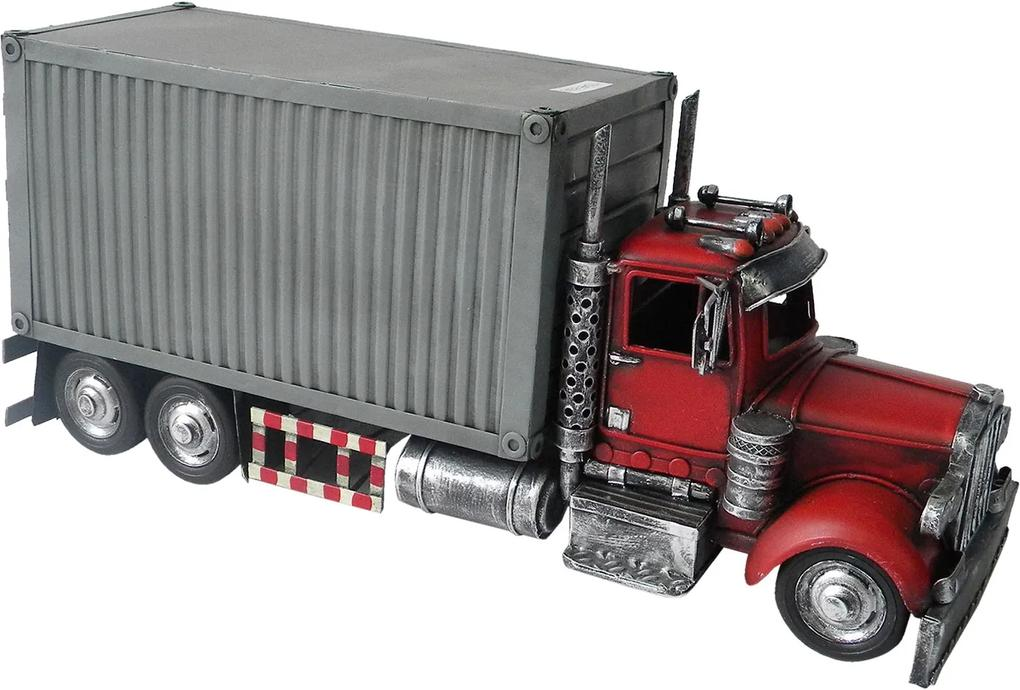 Macheta camion retro metal gri rosu 36 cm x 13 cm x 16 cm