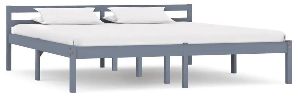 283201 vidaXL Cadru de pat, gri, 180 x 200 cm, lemn masiv de pin
