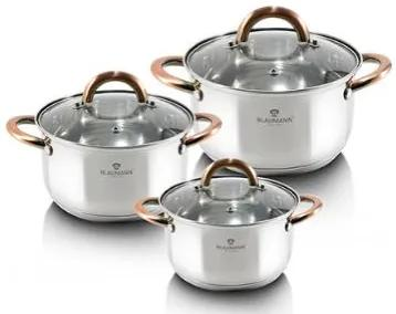 Set oale si tigai otel inoxidabil (6 piese) cu manere Rose Gold (Cupru) Gourmet Line Blaumann BL 3247