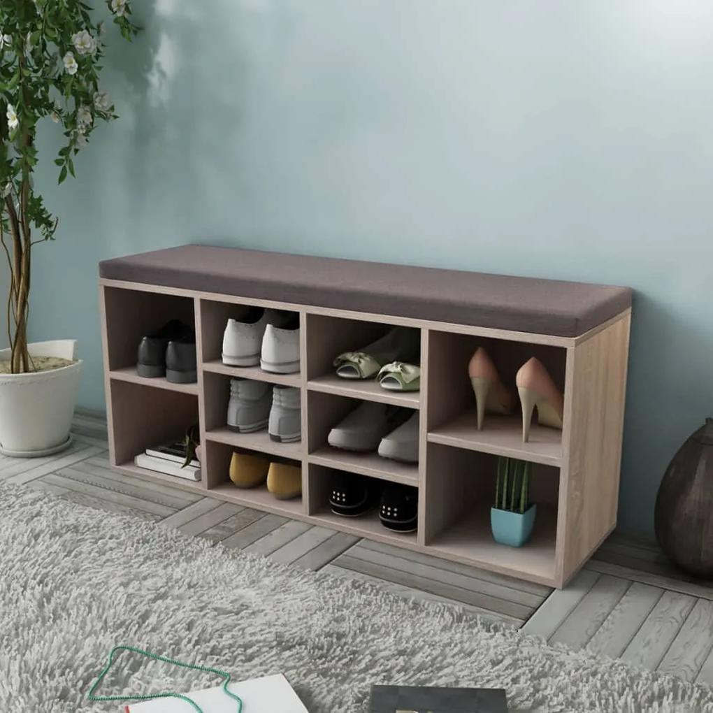 242555 vidaXL Organizator pantofi tip bancă cu 10 compartimente, culoare stejar