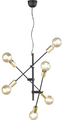 Pendul Cross E27 max. 6x28W, negru/auriu