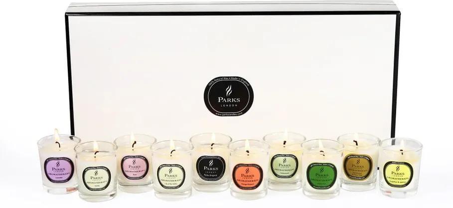 Set 10 lumânări parfumate Parks Candles London Aromatherapy, 8 ore de ardere