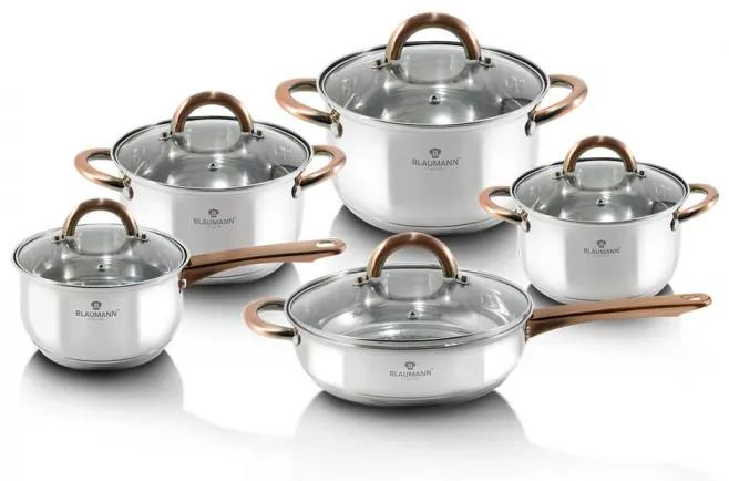 Set oale si tigai otel inoxidabil (10 piese) cu manere Rose Gold (Cupru) Gourmet Line Blaumann BL 3420