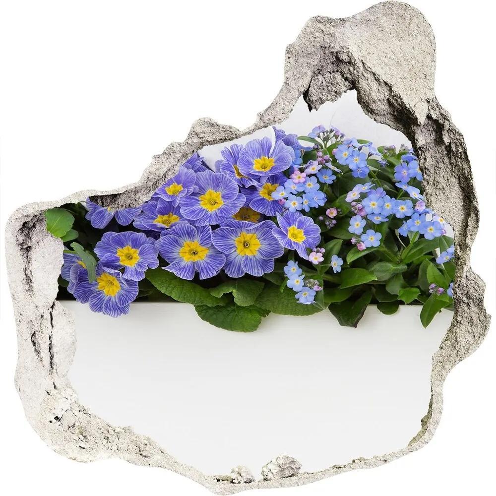 Autocolant 3D gaura cu priveliște Flori albastre