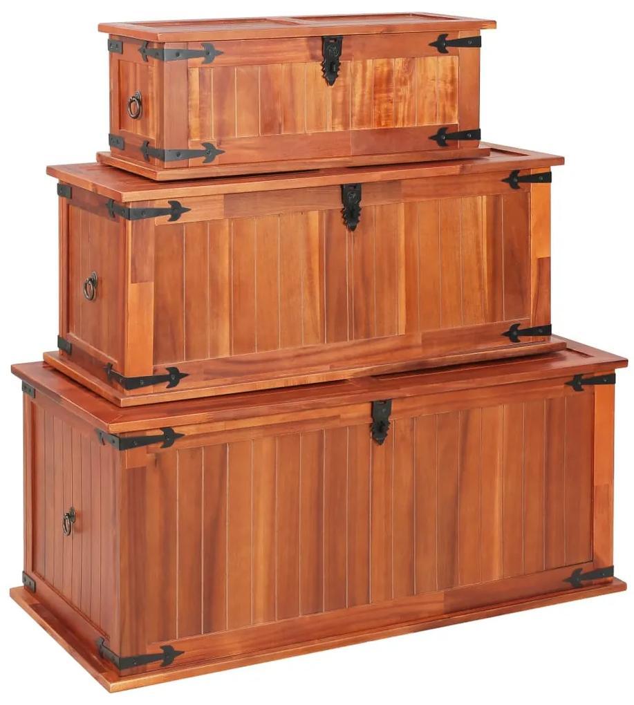 247243 vidaXL Cufere de depozitare, 3 buc., lemn masiv de acacia
