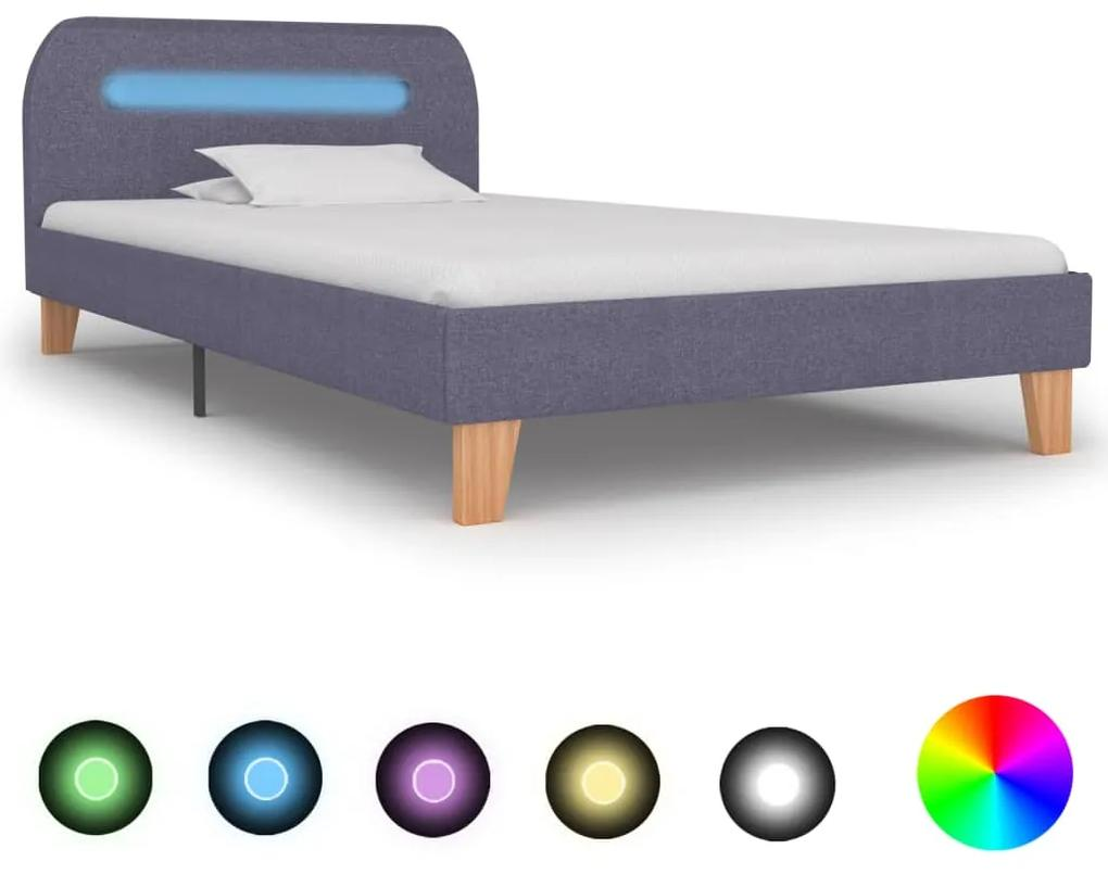 280896 vidaXL Cadru pat cu LED-uri, gri deschis, 90x200 cm, material textil