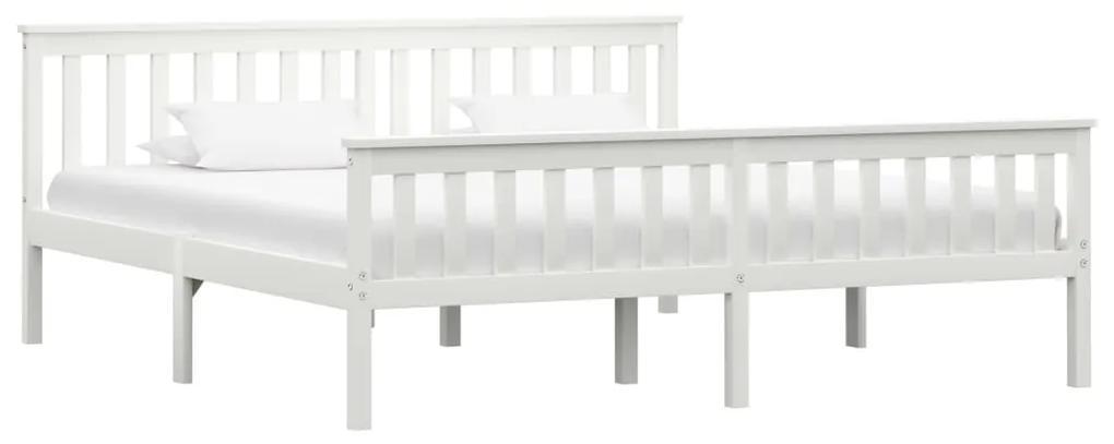 283219 vidaXL Cadru de pat din lemn masiv de pin, alb, 180 x 200 cm