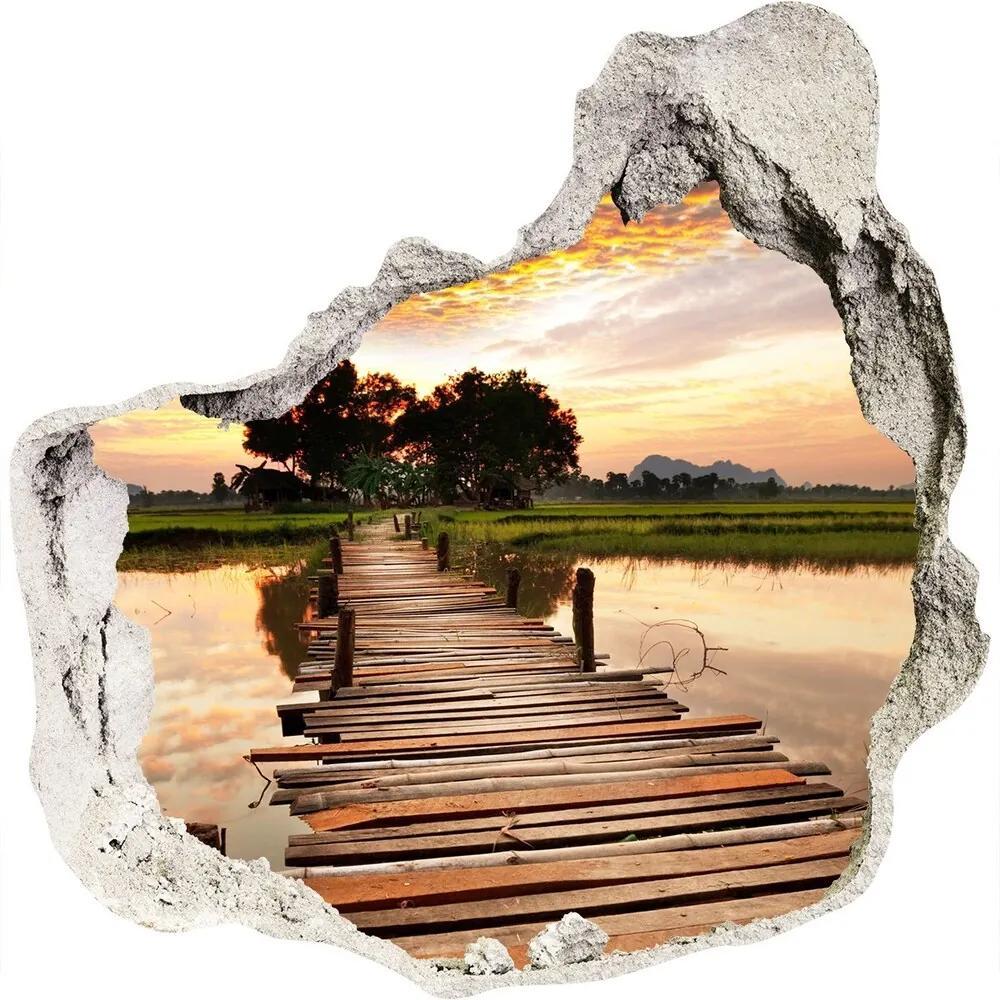 Fototapet un zid spart cu priveliște Pod de lemn