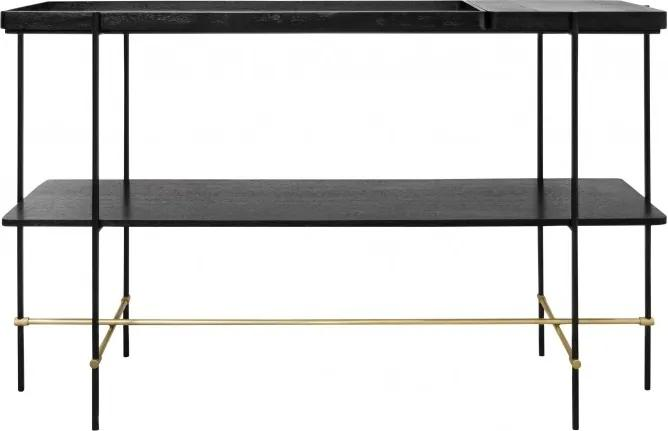 Consola neagra cu detalii aurii 140x40cm Highline Versmissen
