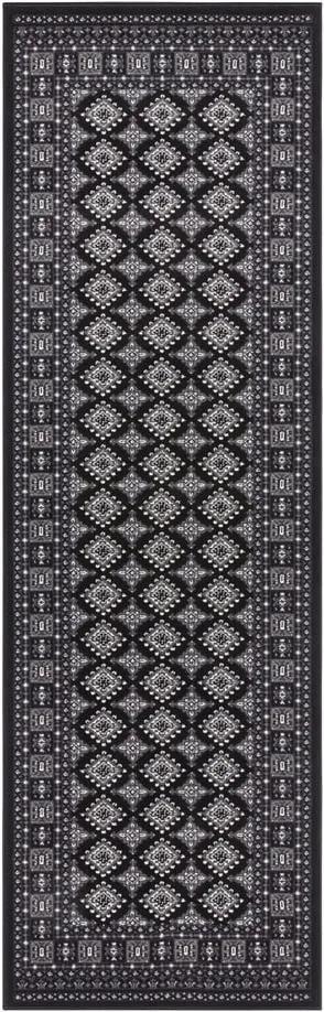 Covor Nouristan Sao Buchara, 80 x 250 cm, negru