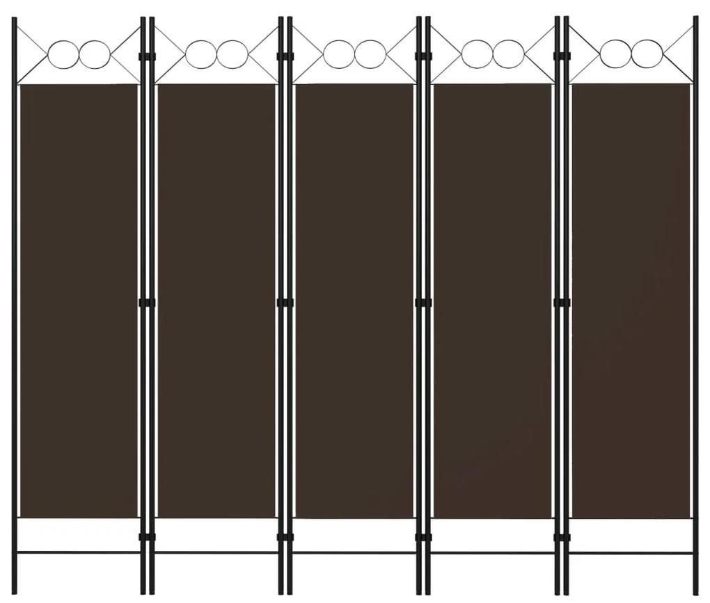 320708 vidaXL Paravan de cameră cu 5 panouri, maro, 200 x 180 cm