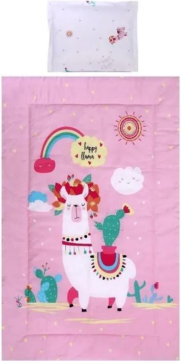 Lorelli - Set lenjerie pat , bumbac ranforsat , 4 piese , Happy Lama Pink
