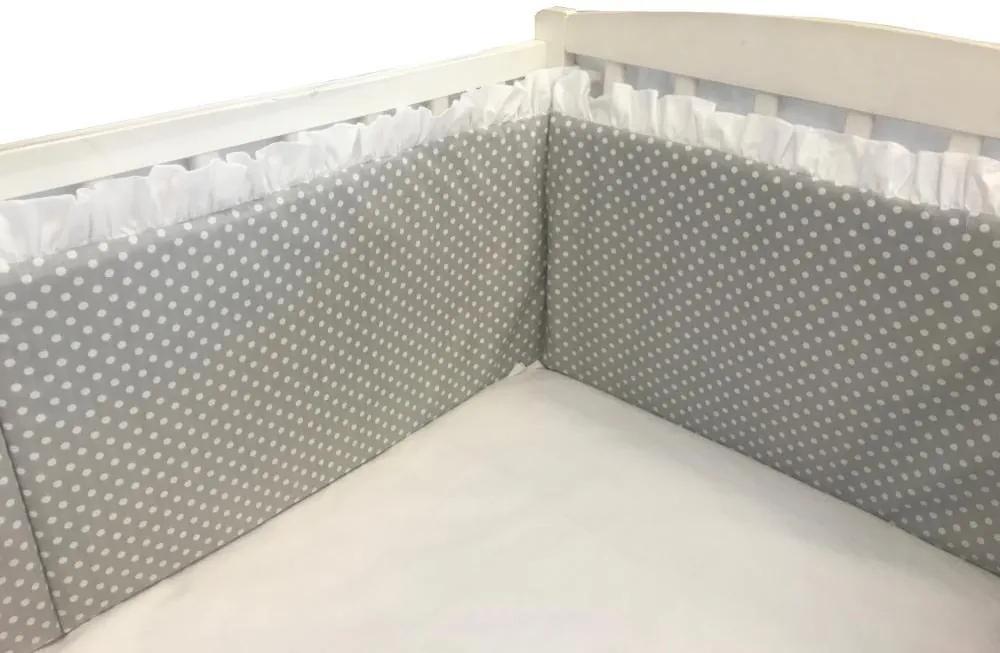 Aparatori laterale cu volanase si buline 140x70 h60 cm gri