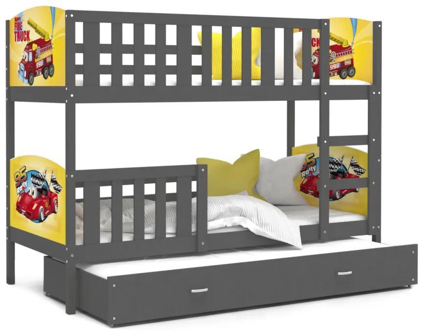Expedo Pat supraetajat copii DOBBY 3 COLOR cu imprimeu + saltea + somieră GRATIS, 190x80, gri/model D24/H23