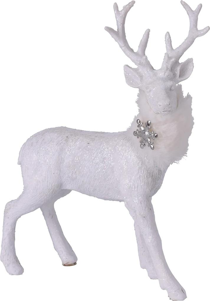 Figurina ceramica, cerb alb, 26.5x16x21.5 cm