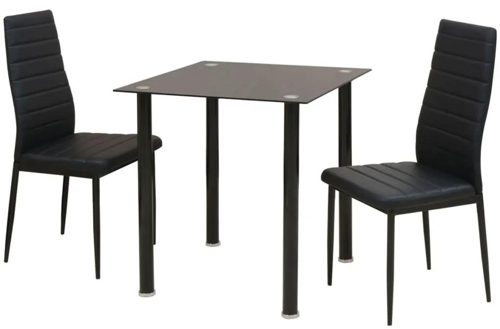 242932 vidaXL Set masă și scaune de bucătărie, trei piese, negru