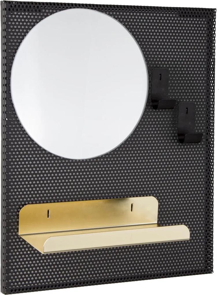 Oglinda de perete cu rama din metal si etajera 31 cm x 10 cm x 37 h