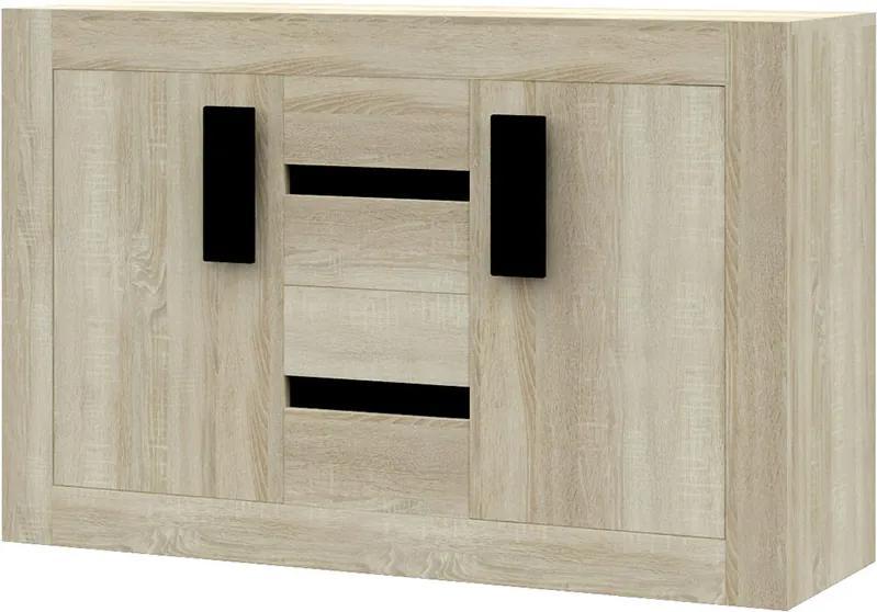 Comoda din pal cu usi si sertare TORINO 4S2D SONOMA 145x97x50 cm