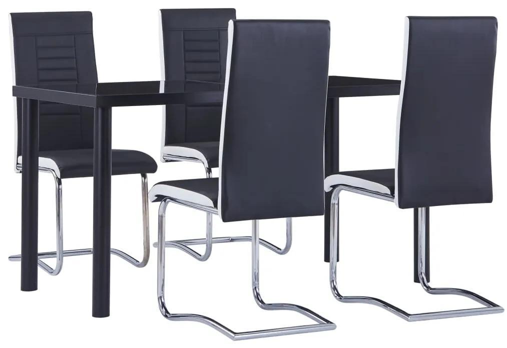 3053010 vidaXL Set mobilier de bucătărie, 5 piese, negru, piele ecologică