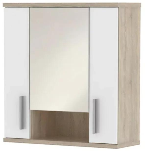 Dulap superior cu oglinda semi stralucire alba/stejar sonoma LESSY LI 01