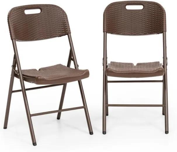 Blumfeldt Burgos, set de scaune pliabile, 2 HDPE, oțel, rattanlook, maro