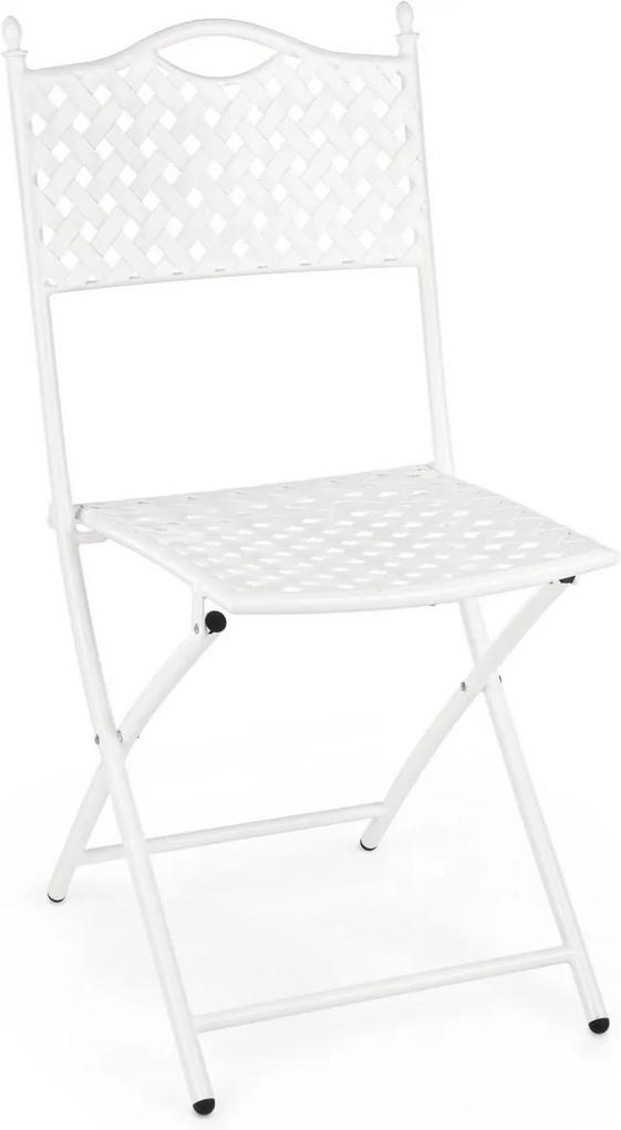 Scaun cu spatar pliabil  din fier alb Jenny 40 cm x 35 cm x 88 h x 45 h1