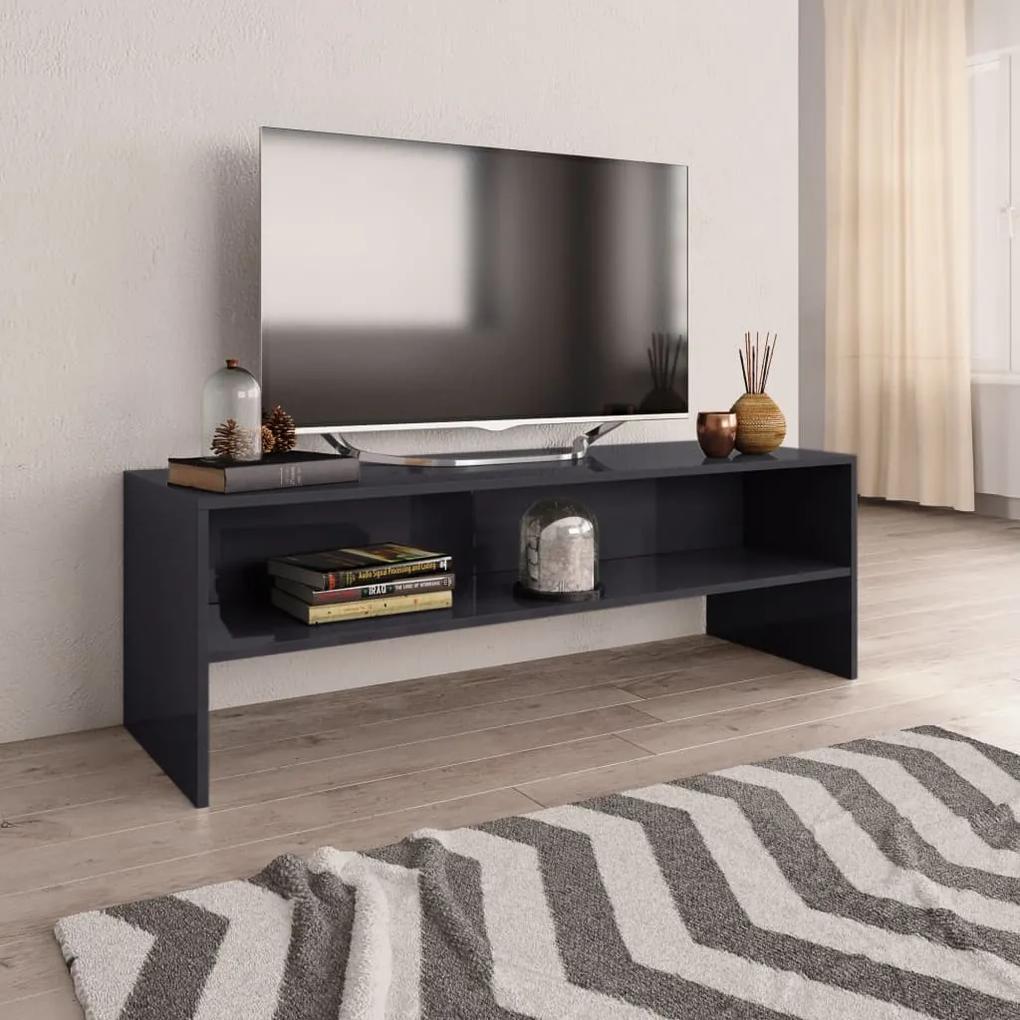 800044 vidaXL Comodă TV, gri foarte lucios, 120 x 40 x 40 cm, PAL