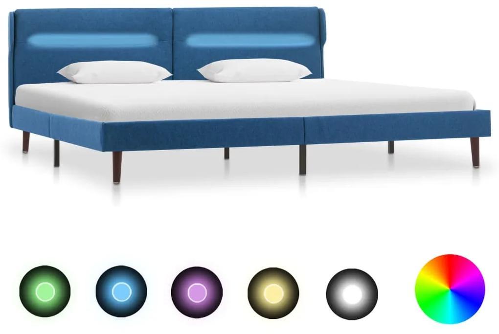 286900 vidaXL Cadru de pat cu LED-uri, albastru, 180x200 cm, material textil