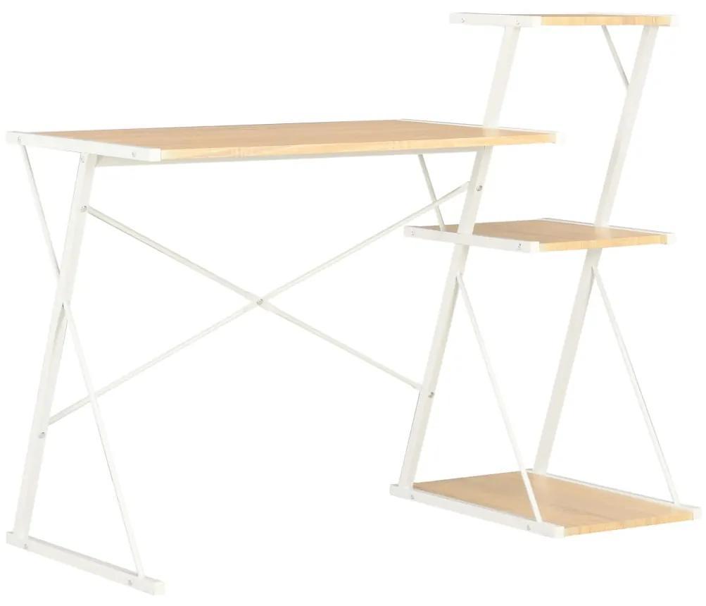 20291 vidaXL Birou cu raft, alb și stejar, 116 x 50 x 93 cm