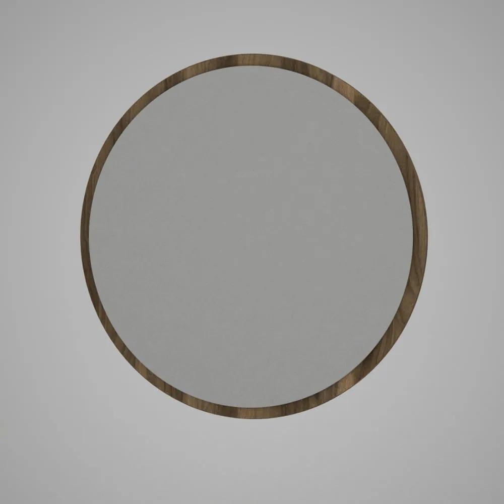 Oglindă rotundă de perete cu rama maro Glob, ⌀ 59 cm
