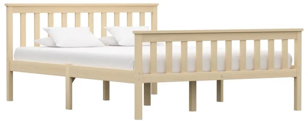 283223 vidaXL Cadru de pat, lemn deschis, 140 x 200 cm, lemn de pin masiv