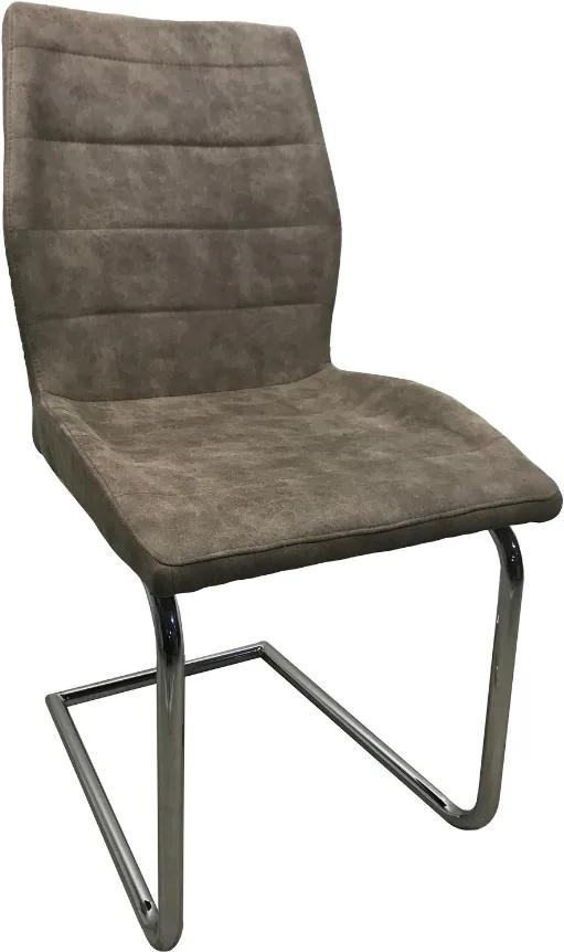 Scaun dining MF Wilton, textil imitatie piele, cadru metalic, gri